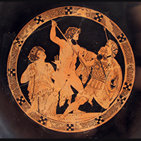 Poseidon attacks Polybotes in the presence of Gaia, red-figure cup late fifth century BC